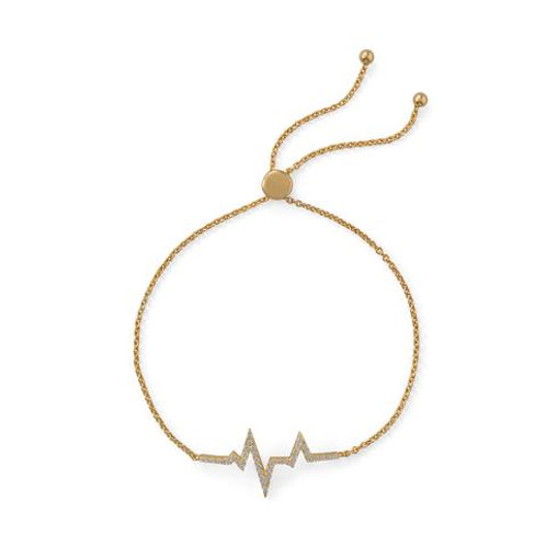 14 Karat Gold Plated CZ Heartbeat Bracelet