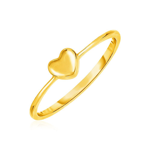 14k Yellow Gold Ring with Puffed Heart