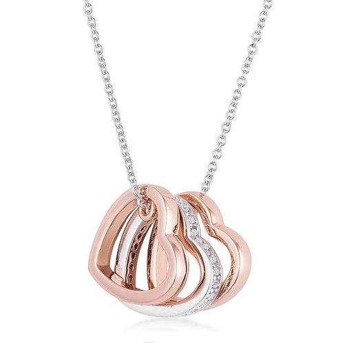 Mandy 0.45ct CZ Two-tone Triple Heart Necklace