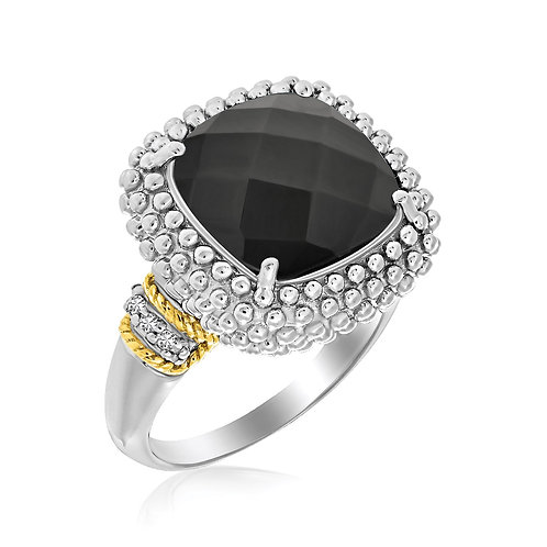 18k Yellow Gold & Sterling Silver Black Onyx and Diamond Popcorn Cushion Ring