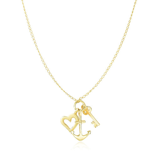14k Yellow Gold Anchor   Heart   and Skeleton Key Cluster Charm Necklace