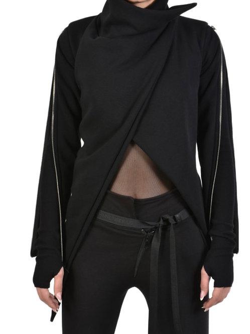 Damen -Sweater-Jacke mit Reisverschlüssen an den Ärmeln