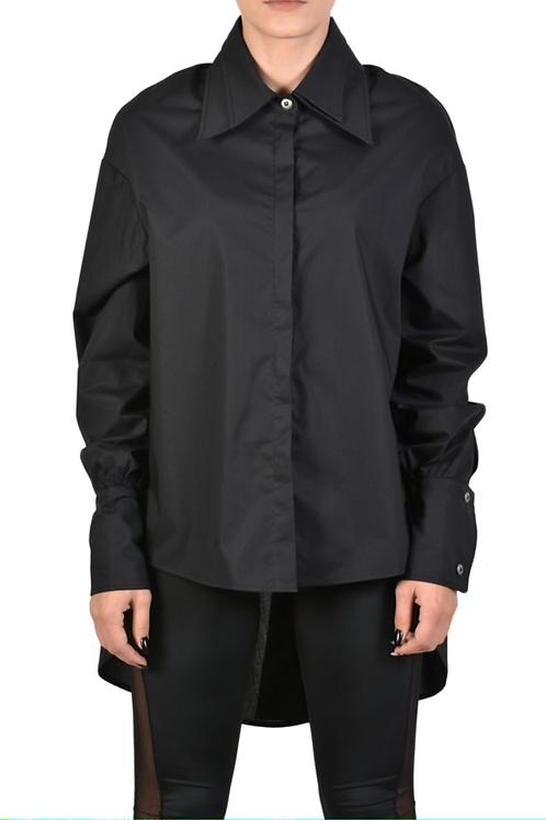 Asymmetrisch übergroß geschnittene Bluse