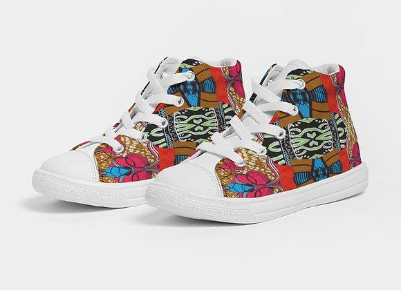 Chitenge -Kids Hightop Canvas Shoe