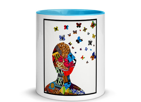 Butterfly Thoughts Mug with Color Inside