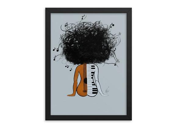 Good Hair Series Music Lover -Framed poster