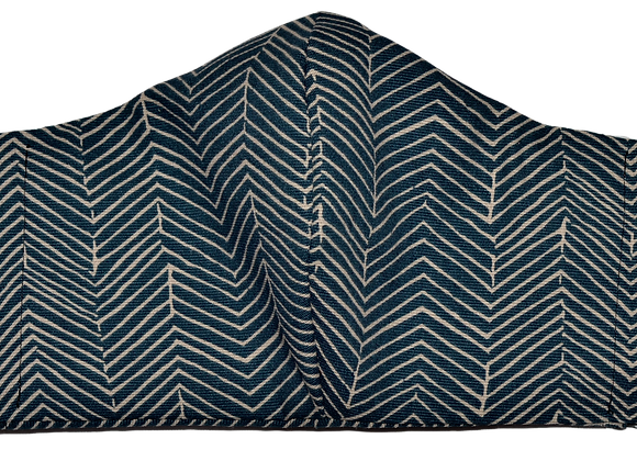 BLUE CHEVRON- CHITENGE MASKS -ADULT