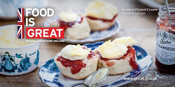 Scone with Rodda's Clotted Cream and Tiptree Strawberry Preserve