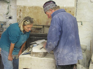 Tom Clark teaching stone carving