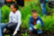 2 volunteers help plant flowers in their own neighborhood