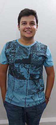 Camiseta careca meia malha estampada