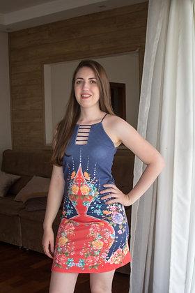 Vestido curto de alça