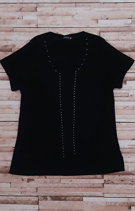 Blusa básica trico manga curta plus size