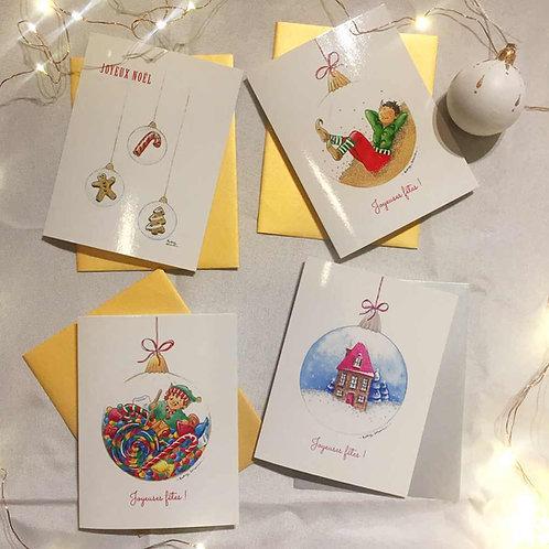 Ensemble de 4 Cartes de Noël & enveloppes