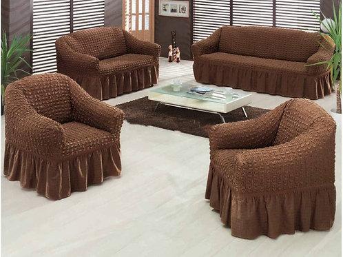 Чехол на мягкую мебель (диван+2 кресла) шоколад