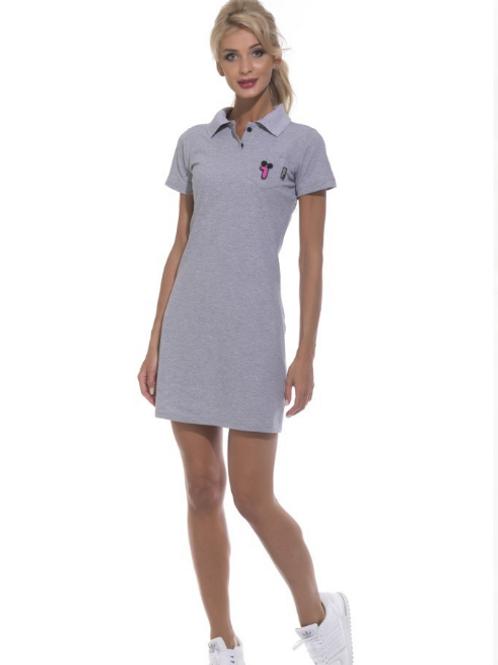 Платье-поло серый меланж  №1705