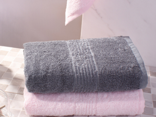 Полотенце бамбуковое (2шт)Пепельный Cерый, Розовый Туман