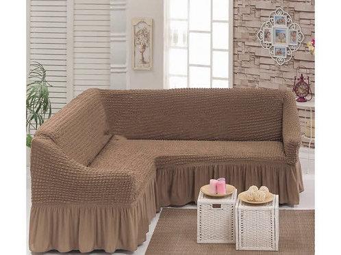 Чехол на угловой диван капучино