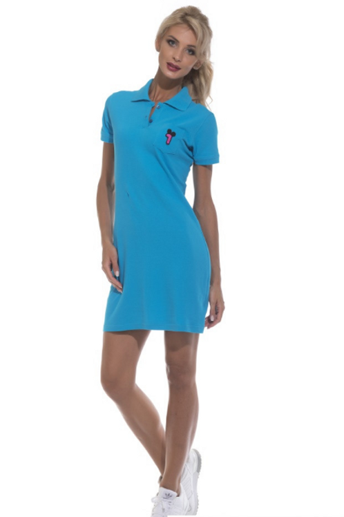 Платье-поло бирюза №1705