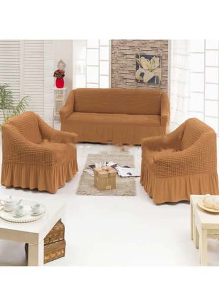 Чехол на мягкую мебель (диван+2 кресла) желтый