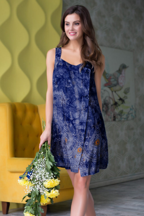 """16233 Mia-Mia Платье домашнее женское """"Gloria""""  print # 997 т.синий"""
