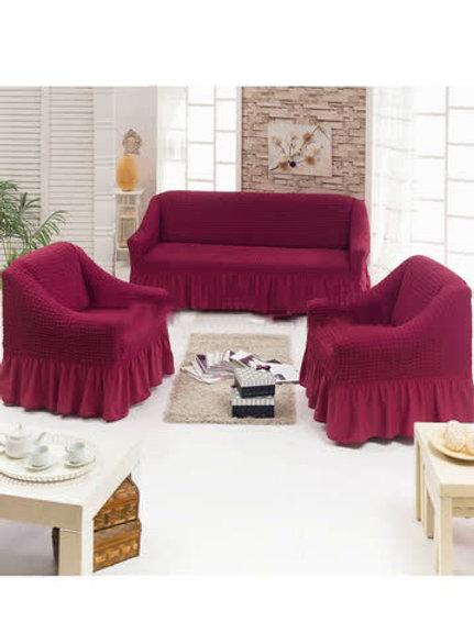 Чехол на мягкую мебель (диван+2 кресла) бордо
