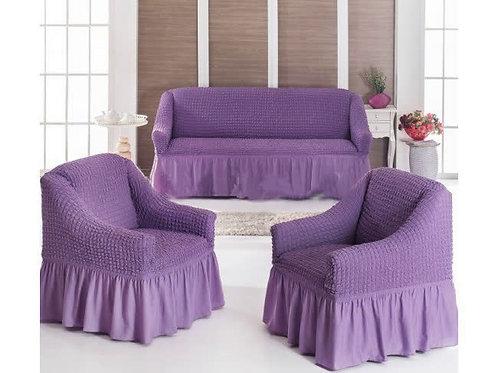 Чехол на мягкую мебель (диван+2 кресла) сирень