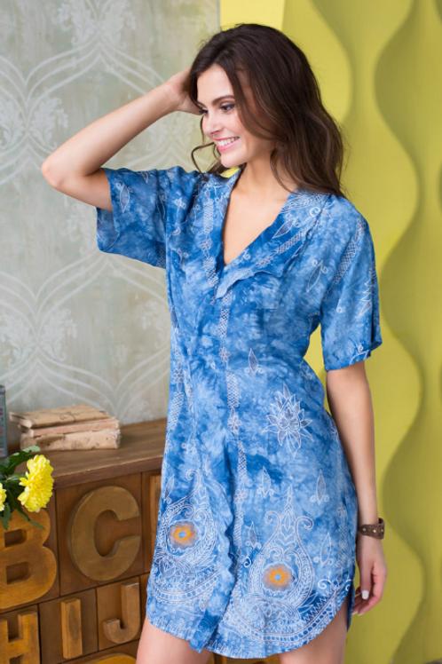 "16236 Mia-Mia Туника домашняя женская ""Gloria"" print # 996 синий"