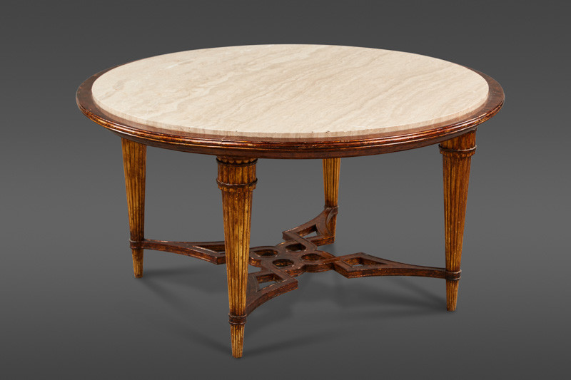 AN ELEGANT MARBLE AND LACQUERED WOOD ROUND COFFEE TABLE