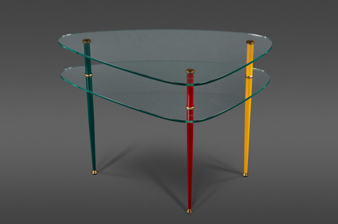"AN ELEGANT TWO-TIERED TRIANGULAR GLASS ""ARLECCHINO"" SIDE TABLE BY EDOARDO PAOLI FOR VITREX"