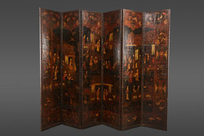 AN EXQUISITE 19TH CENTURY EUROPEAN LEATHER SCREEN