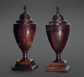 A RARE PAIR OF LARGE WALNUT LATE 18TH CENTURY ENGLISH WINE COOLERS