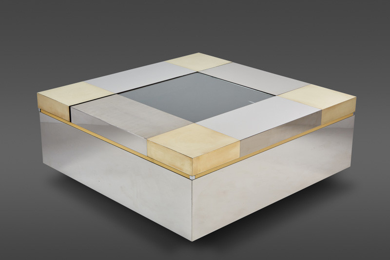 A STUNNING ITALIAN COFFEE TABLE WITH MOVEABLE COMPARTMENTS ATTRIBUTED TO PIERRE CARDIN
