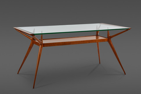A STUNNING TWO TIERED WOOD AND GLASS DINING TABLE OR DESK ATTRIBUTED TO CARLO DE CARLI