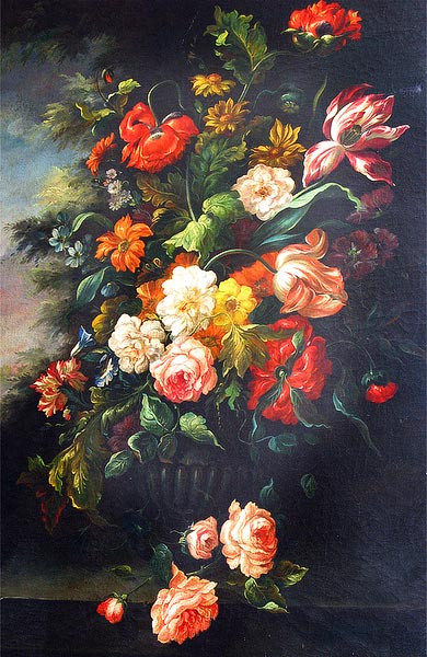 AN 18TH C FRENCH FLORAL OIL PAINTING, DEPICTTING PRIMARILY A PROFUSION OF ROSES, TULIPS AND OTHERS, ALL SPILLING OVER THE EDGE OF A CARVED EBONY TABLE