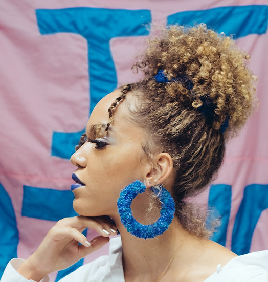What The Fuzz Crochet Earrings in Morning Blues