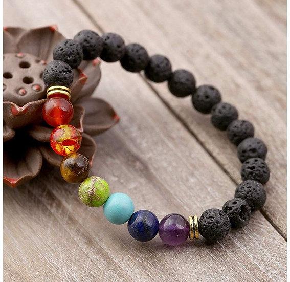 Lava Rock 7 Chakra Essential Oil Diffuser Bracelet (PRE INFUSED)
