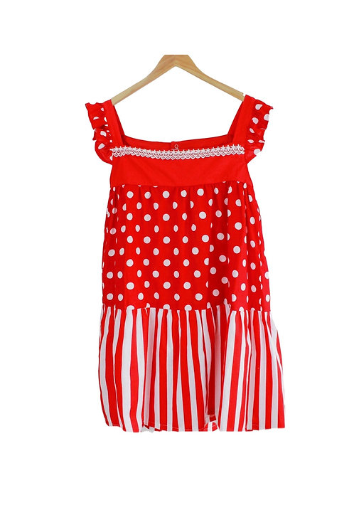 Mommy Scarlet Dots & Strips Eyelet Sleeve
