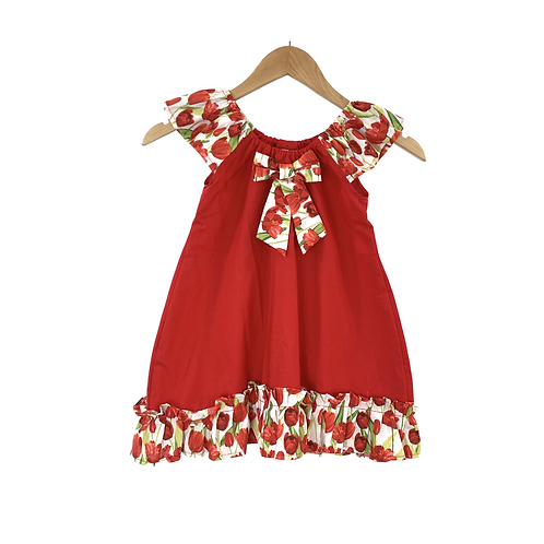 Baby Filippa Red Tulips Ruffle Sleeves Cotton Dress