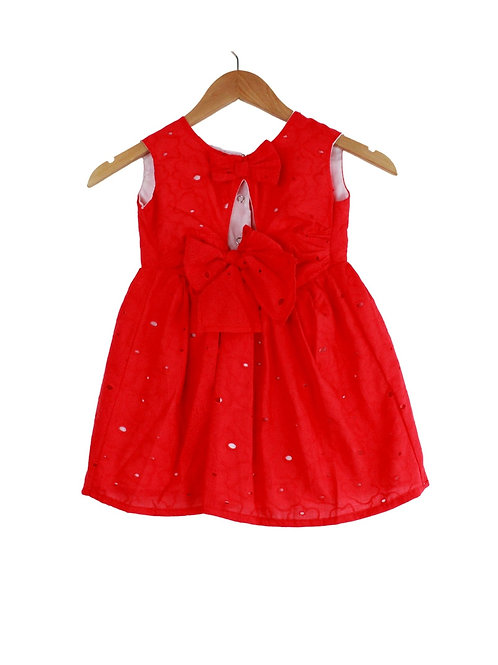 Baby Chiara Red Dress Textured With Big Bow