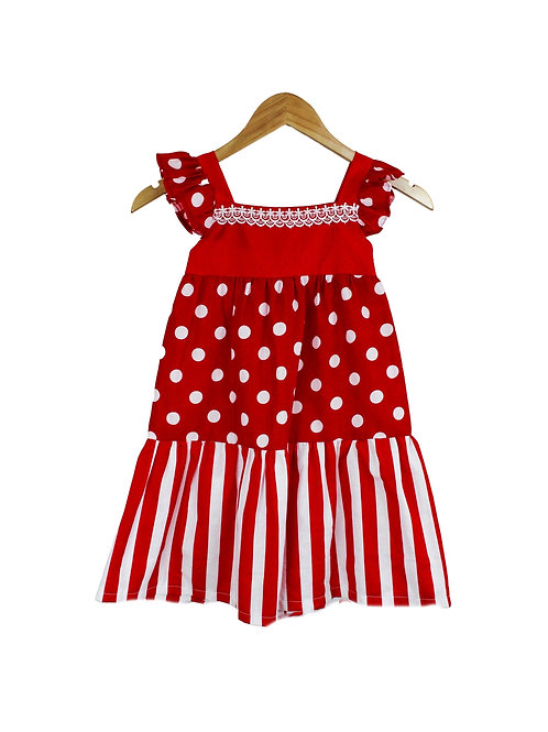 Baby Scarlet Dots & Strips Eyelet Sleeve Maxi Dress