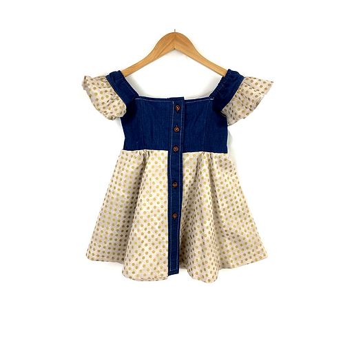 Baby Dinora Denim & Cotton Dress