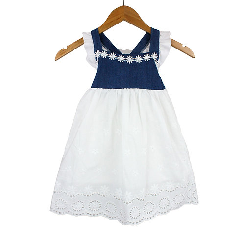 Baby Elsa Dress White & Denim