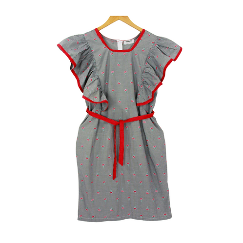 Mommy Sloane Red Cherry Eyelet Sleeve Dress