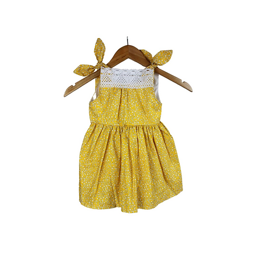Baby ginger Crochet Trim Floral Dress