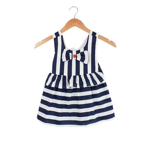 Baby Loretta Striped White & Blue Dress