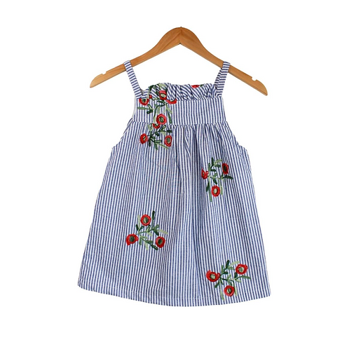 Baby Gianna Striped & Embroidered Floral Dress