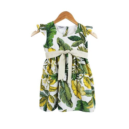 Baby Olive Palm Print Dress