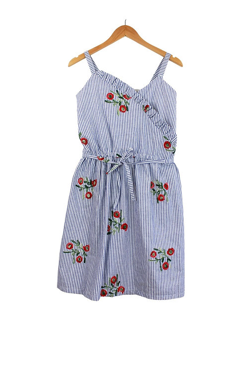 Mommy Gianna Striped & Embroidered Floral Dress