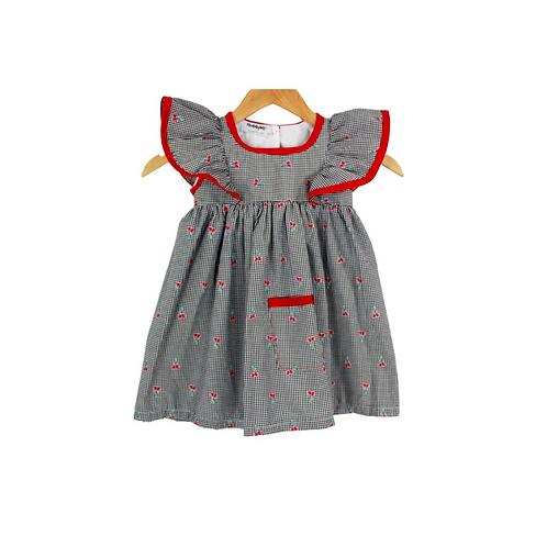 Baby Sloane Red Cherry Eyelet Sleeve Dress